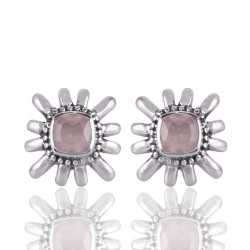 Rose Quartz Gemstone 925 Sterling Silver Stud Earring