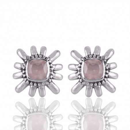 Rose Quartz Gemstone 925 Sterling Silver Stud Earring