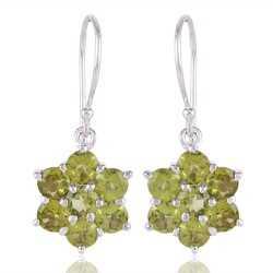Peridot Natural Gemstone 925 Silver Earring