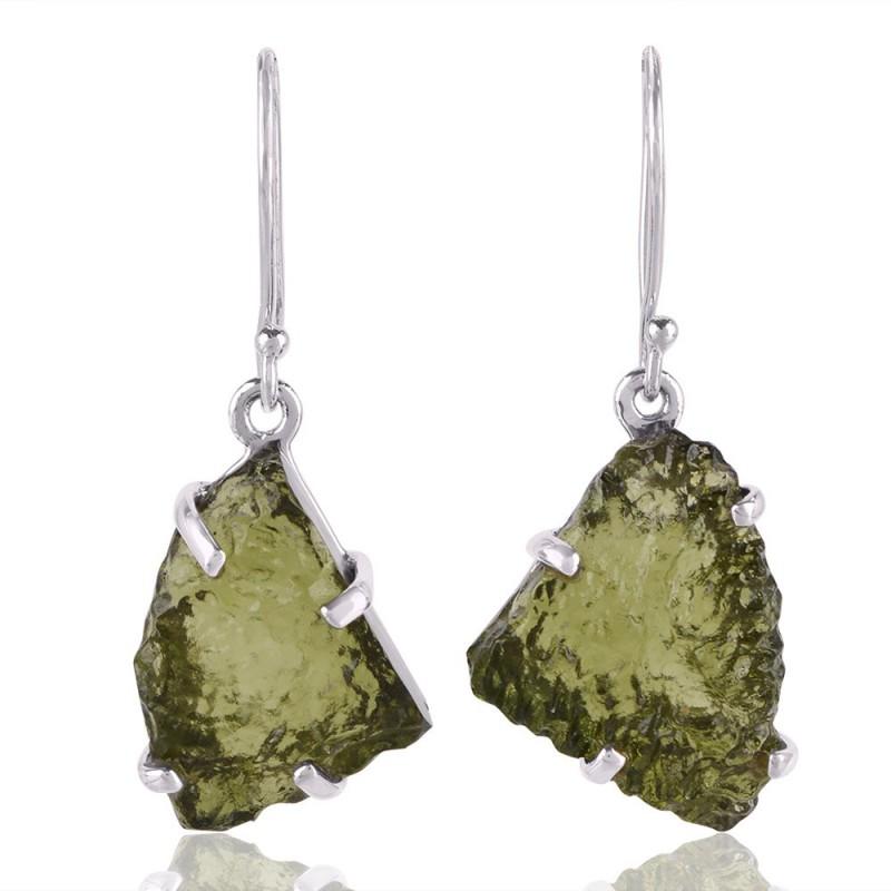 Natural Moldavite Gemstone and 925 Sterling Silver Dangling