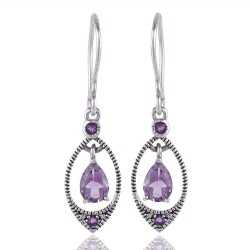 Natural Amethyst Gemstone 925 Sterling Silver designer Earring