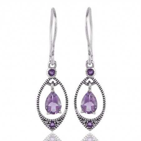Natural Amethyst Gemstone 925 Sterling Silver designer Earring