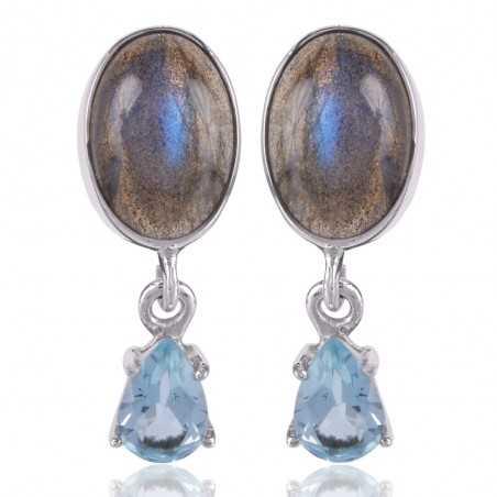 Labradorite Blue Topaz Beautiful Combination 925 Silver Handmade Earring