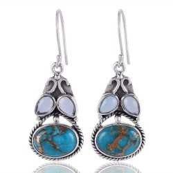 Natural Blue Topaz and Blue Copper Turquoise Silver Earring