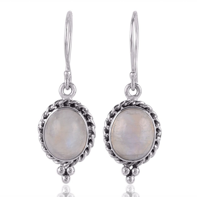 Rainbow Moonstone Earrings Sterling Silver Designer Dangle Drop Loading Zoom