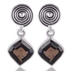 Smokey Quartz Fancy Cut Natural Gemstone 925 Silver Dangle Earring