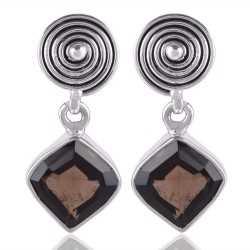 Smokey Quartz Fancy Cut Natural Gemstone 925 Silver Dangle Earring