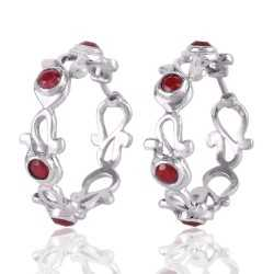 Red Corundum Sterling Silver Bali Earring