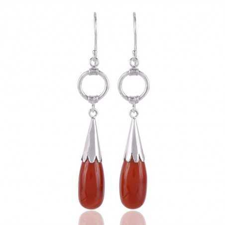 Natural Onyx Gemstone Drop Silver Earring