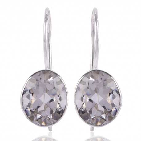 Crystal Quartz Natural Gemstone Sterling Silver Earring