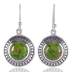 Green Copper Turquoise and 925 Sterling Silver Designer Earring