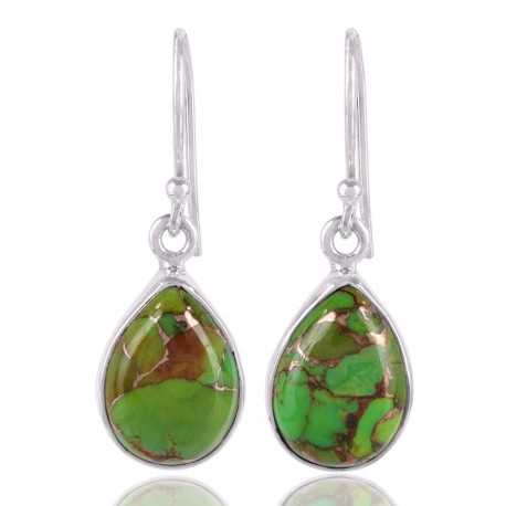 Green Copper Turquoise 925 Sterling Silver Dangle Earring