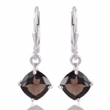 Smoky Quartz with 925 Sterling Silver Dangle Earring