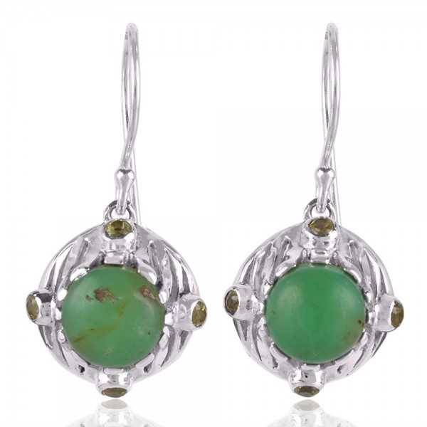 Chrysoprase and Peridot Unique Design Silver Earring