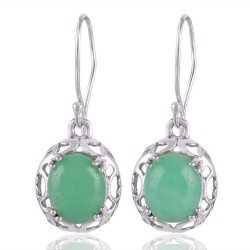 Chrysoprase Gemstone Designer 925 Silver Earring