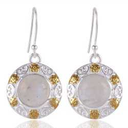 Rainbow Moonstone 925 sterling silver Two Tone Earring