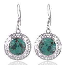 Natural Turquoise Gemstone 925 Silver Earring
