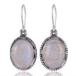 Oval Rainbow Moonstone Filigree Design Oxidized Sterling Silver Earring