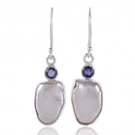 Natural Iolite With Fresh Water Pearl Gemstone 925 Sterling Silver Earring