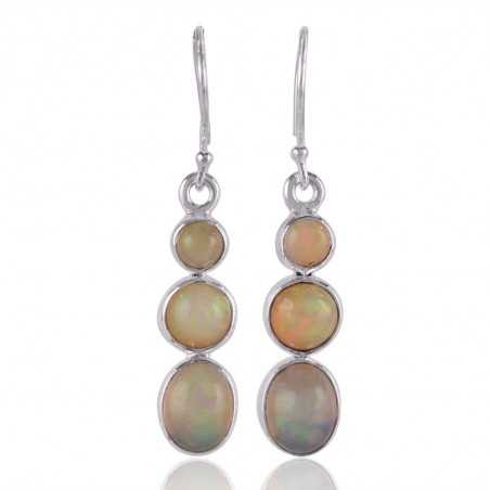 Ethiopian opal Natural Gemstone and 925 Sterling Silver Earring