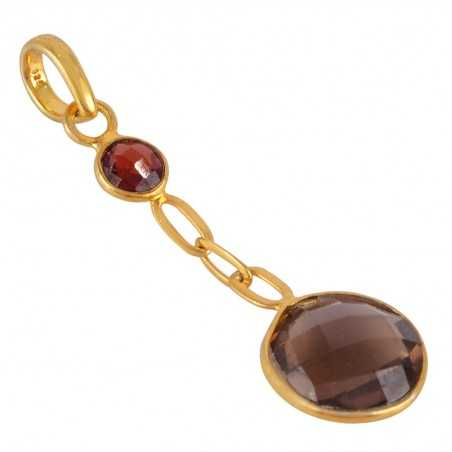 Garnet and Smoky Quartz Gold Plated Silver Chain Pendant Locket