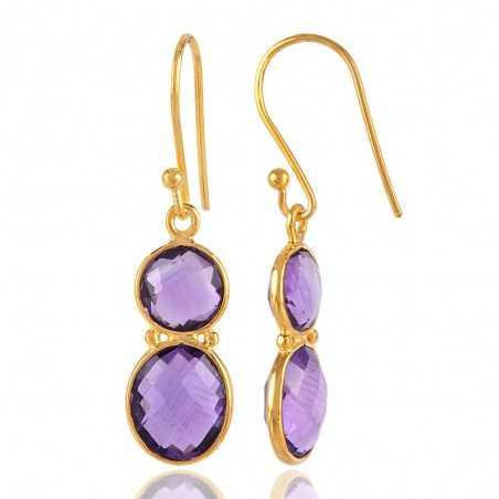 Amethyst Gemstone Briolite Thin Silver Earrings for Girls and Womens