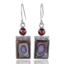 Abalone Shell and Garnet Briolet 925 Starling Silver Dangle Earring