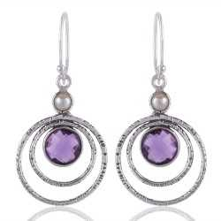 Amethyst Briolet and Pearl Gemstone 925 Starling Silver Drop and Dangle Earring