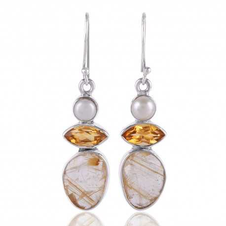 Citrine,Pearl and Rutilated Quartz Gemstone 925 Starling Silver Drop and Dangle Earring