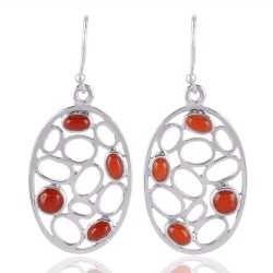 Coral Gemstone 925 sterling Silver Dangle Earring