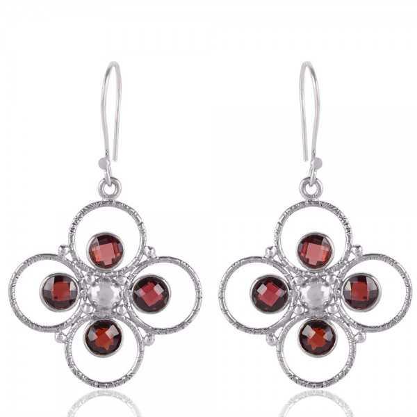 Garnet Briolet Gemstone 925 Starling Silver Earring