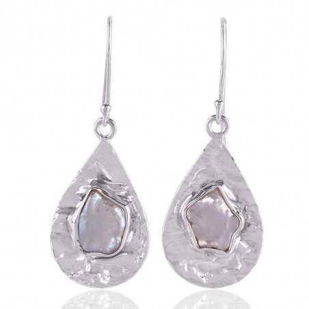 Biwa PearlGemstone  925 Starling Silver Drop and Dangle Earring