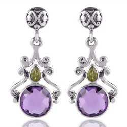 Amethyst Briolet and Peridot Gemstone 925 Starling Silver Drop and Dangle Earring