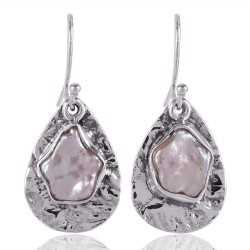 Pearl Gemstone 925 Starling Silver Drop and Dangle Earring