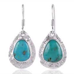 Tibetan Turquoise Gemstone 925 Starling Silver Drop and Dangle Earring