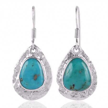 Tibetan Turquoise Gemstone 925 Starling Silver Drop and Dangle Earring