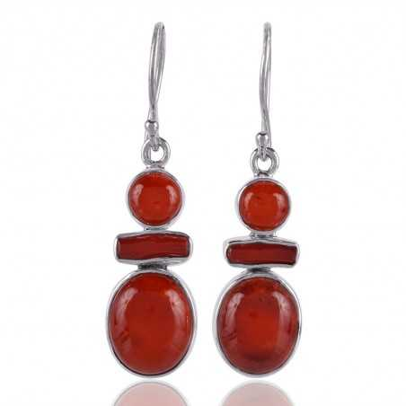 Bambu Coral and Coral Stick Gemstone 925 Starling Silver Drop and Dangle Earring