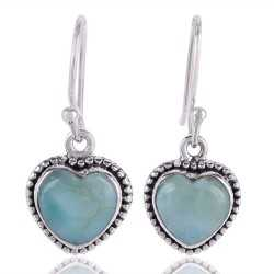 Larimar Gemstone 925 sterling Silver Dangle Earring