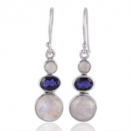 Iolite and Rainbow Moonstone 925 sterling Silver Dangle Earring