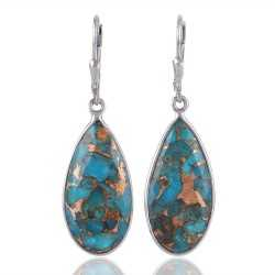 Blue Copper Turquoise 925 sterling Silver Dangle Earring