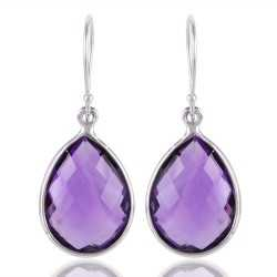 Amethyst Briolet 925 sterling Silver Dangle Earring