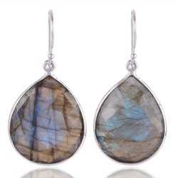 Labradorite Briolet 925 sterling Silver Dangle Earring