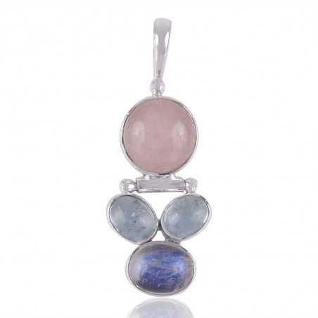 Aquamarine and Rainbow moonstone 925 Silver Pendant