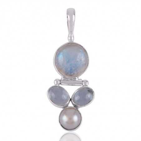 Pearl, Rainbow Moonstone and Sky Blue Topaz Gemstone Sterling Silver Pendant