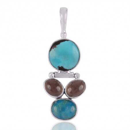 Smoky Quartz,Tibetan Turquoise Sterling Silver 925 Pendants