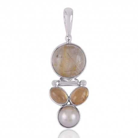Citrine,Pearl and Rutilated Quartz Sterling Silver 925 Pendants