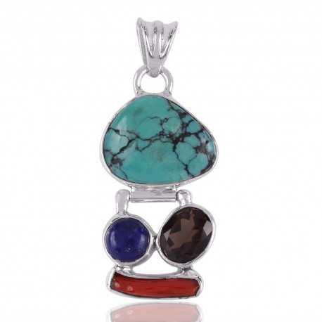 Fancy Coral Stick,Lapis,Smoky Quartz and Tibetan Turquoise sterling Silver 925 Gemstone Pendants