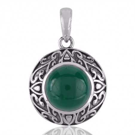 Fancy Green Onyx Gemstone 925 Silver Pendant