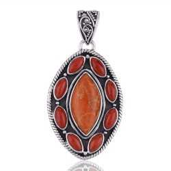 Sponge Coral, Red Coral Gemstone Sterling Silver Pendant