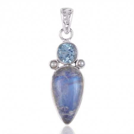 Sky Blue Topaz,Pearl and Rainbow Moonstone 925 Silver Gemstone Pendant